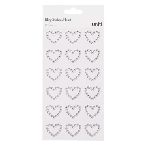 Uniti Bling Stickers Hearts 18 Pack Silver