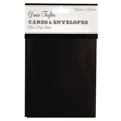 Grace Taylor Cards & Envelopes 15 x 10cm 5 Pack Plain Charcoal