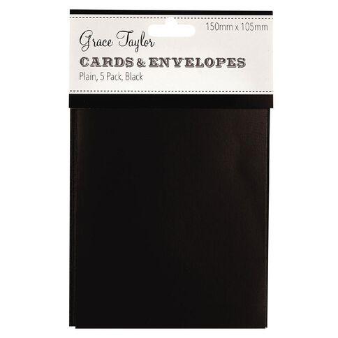 Grace Taylor Cards & Envelopes 15 x 10cm 5 Pack Plain Charcoal