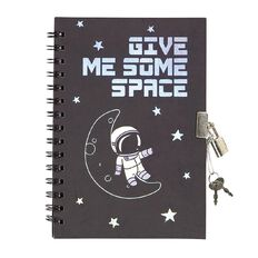 Kookie Space Lock Notebook With Pen Black A5