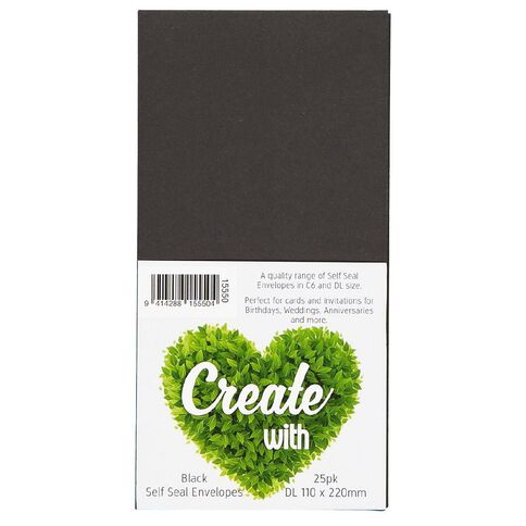 Create With DL Envelope 25 Pack Black