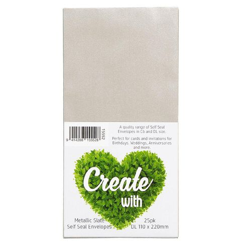Create With DL Envelopes 25 Pack Metallic Slate