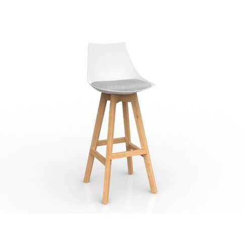 Luna White Ash Oak Base Barstool Grey