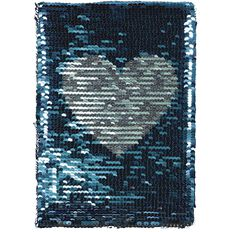 Kookie Heart Sequin Notebook Blue A5
