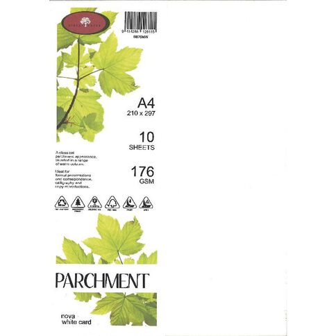 Direct Paper Parchment Card 176gsm 10 Pack Nova White A4