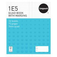 Impact Exercise Book 1E5 7mm Quad 36 Leaf Plus Margin