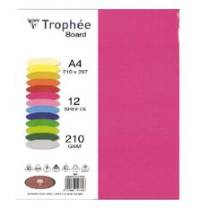 Trophee Board 210gsm 12 Pack Intensive Pink A4