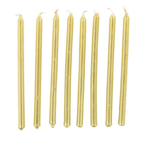 Artwrap Tall Candles 16 Pack Gold 12cm