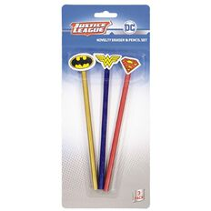 Justice League Pencil With Eraser Topper 3 Pack