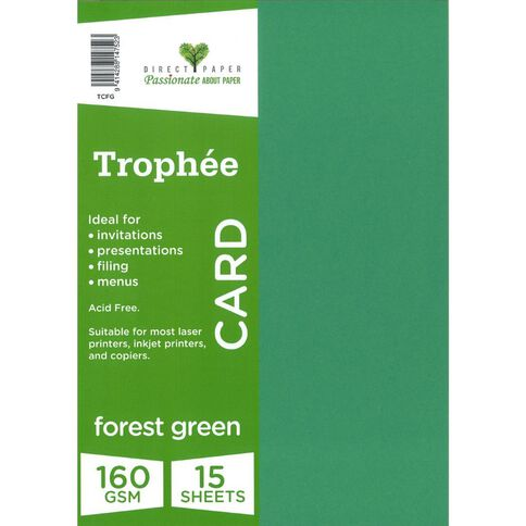Trophee Card 160gsm 15 Pack Forest Green A4