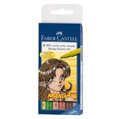 Faber-Castell Manga Kaoiro 6 Pitt Artist Pens Multi-Coloured