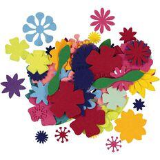 Kookie Flower Felt shapes Colour Box Multi-Coloured 100 Pack