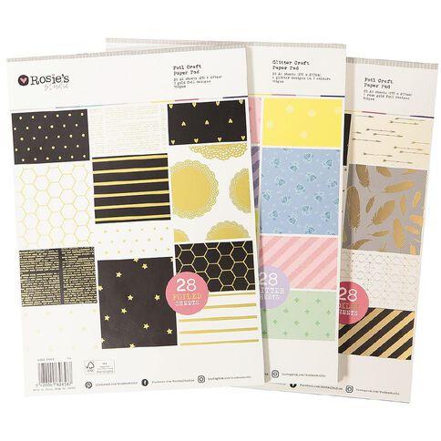 Rosie's Studio Essential Paper Pad Rose Gold Foil FSC Mix A4 28 Sheet