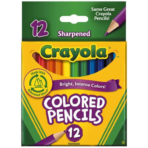 Crayola Coloured Pencils Half Size Multi-Coloured 12 Pack