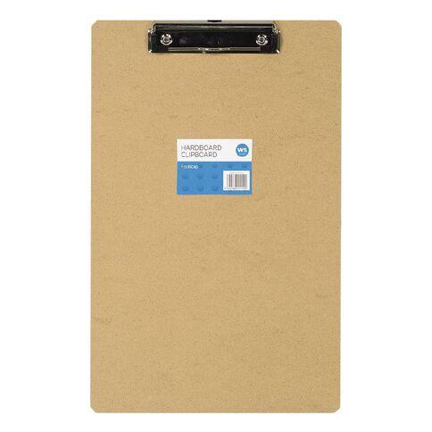 WS Hardboard Clipboard Brown Foolscap