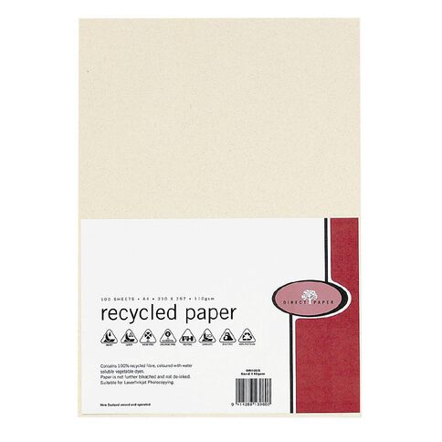 Direct Paper Recycled Paper 110gsm 100 Pack Sand A4