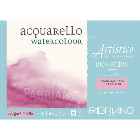 Fabriano Artistico Watercolour Pad Hot Pressed 300GSM 12 Sheets A4