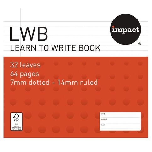 Impact Exercise Book Learn To Write 7mm Ruled 32 Leaf Red