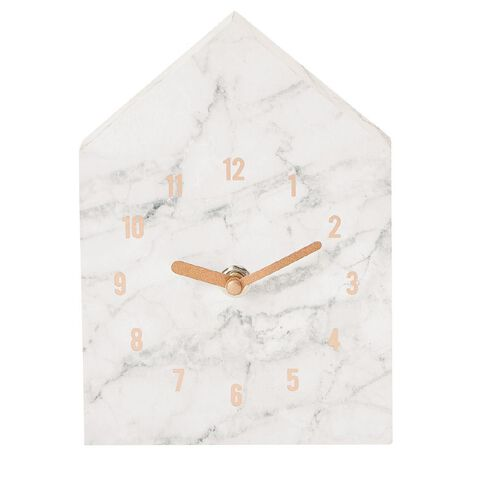 Uniti Rose Crush Marble Print House Shape Clock 13 X 18cm