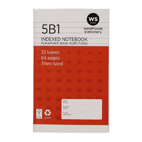 WS Notebook 5B1 Index 7mm 32 Leaf Red