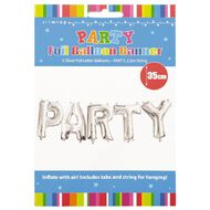 Artwrap Party Foil Balloon Banner Silver 35cm x 2.5m