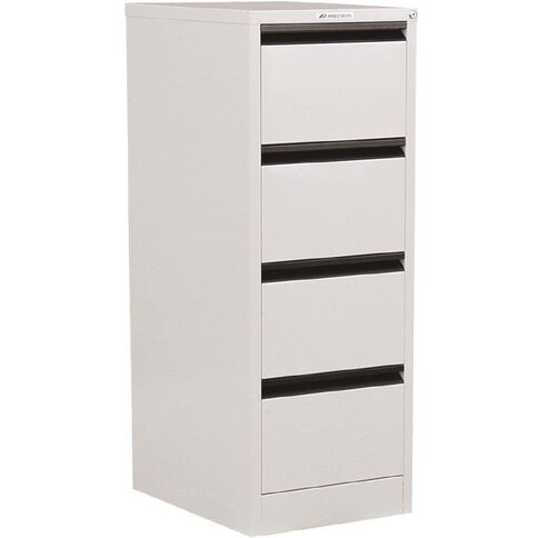 Precision Classic Filing Cabinet 4 Drawer White Satin