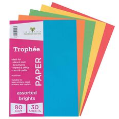 Trophee Paper 80gsm 30 Pack Brights Assorted A4