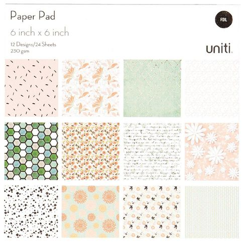 Uniti Paper Pad 24 Sheets 12 Designs Floral 6in x 6in