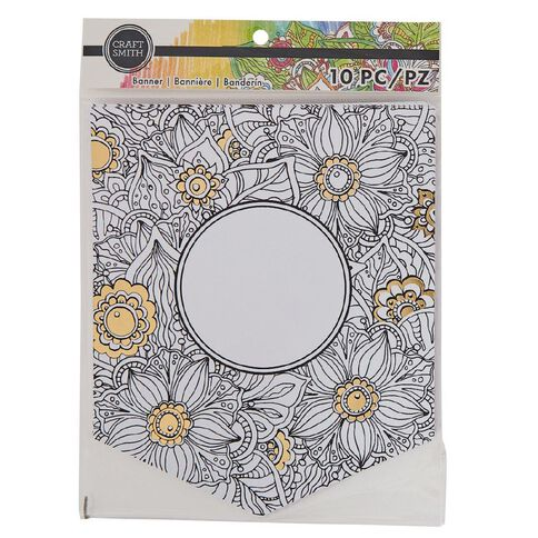 Craft Smith Colouring Banner Dream Catcher White with Gold Foil White