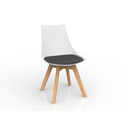 Luna White Charcoal Oak Base Chair Grey