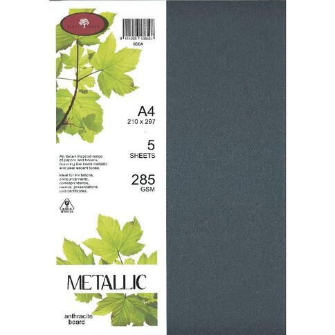 Direct Paper Metallic Board 285gsm 5 Pack Anthracite A4