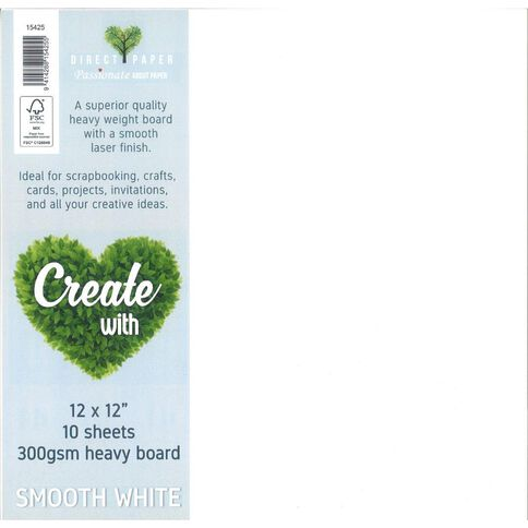 Direct Paper Create With Cardstock 300gsm 12 x 12 Smooth 10 Pack White