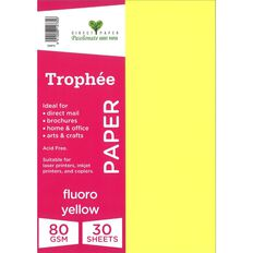 Trophee Paper 80gsm 30 Pack Fluoro Yellow A4