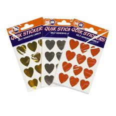 Quik Stik Labels Heart Shaped Quik Stik Stickers