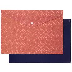 Uniti Empowerment Document Wallet 2 Pack Red & Navy A4