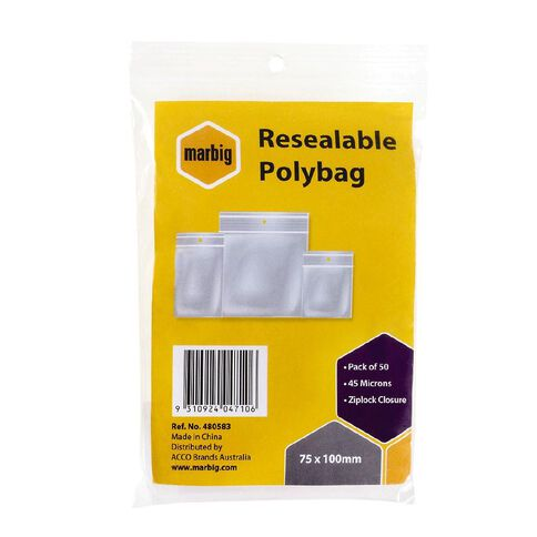 Marbig Resealable Polybags 75x100mm 50Pk