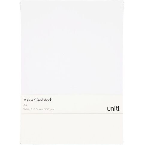 U-Do Value Cardstock 300gsm 10 Pack White A4