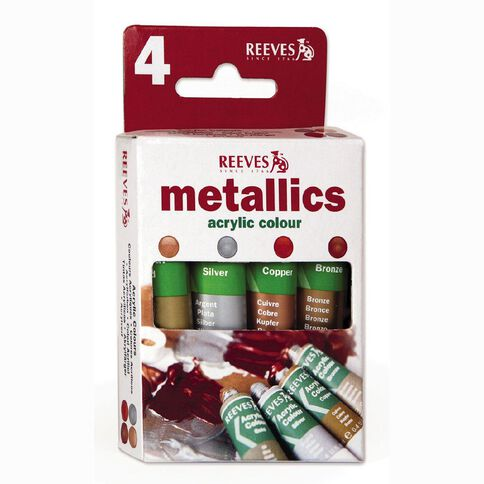 Reeves Acrylic Trend Metallics 10ml 4 Pack
