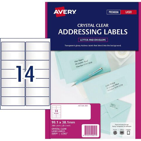 Avery Address Labels Crystal Clear 350 Labels