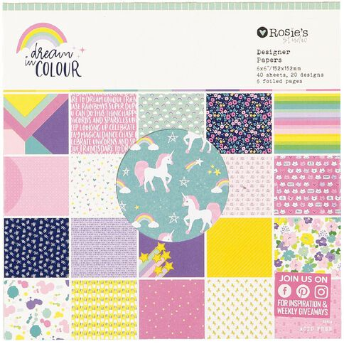 Rosie's Studio Dream In Colour 6in x 6in Paper Pad 40 Sheets