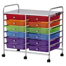 Workspace 12 Drawer Chrome Trolley Multi-Coloured