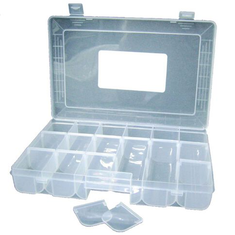 Sullivans Storage Box Plastic 18 Slot Clear