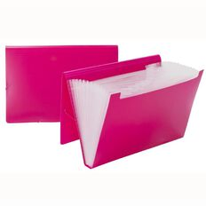 WS Foolscap Expanding File PP 12 Pocket Pink