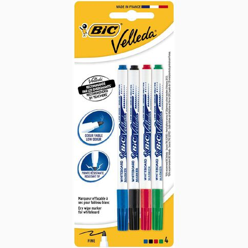 Bic Whiteboard Marker Fine Assorted 4 Pack