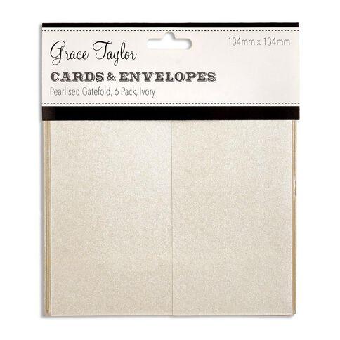 Grace Taylor Cards and Envelopes Ivory Gatefold 6 Pack