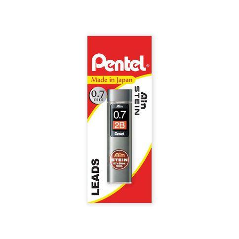 Pentel Ain Stein Pencil Leads 2B 0.7mm 40 Pack Black