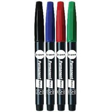 WS Marker Permanent Fine 4 Pack Assorted