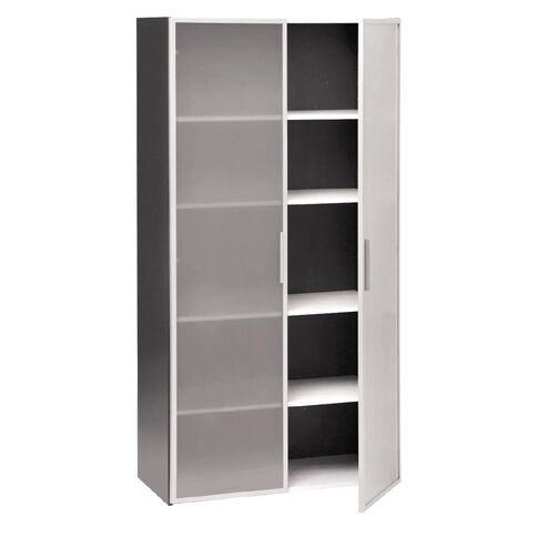 Jasper J Emerge Glass Doors Storage Cupboard 1800 White/Ironstone