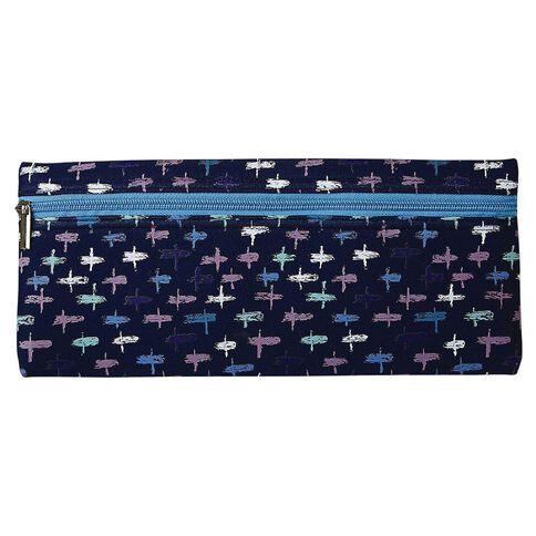 Warehouse Stationery Long Neoprene Pencil Case Cross Blue