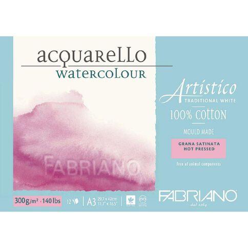 Fabriano Artistico Watercolour Pad Hot Pressed 300GSM 12 Sheets A3